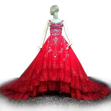 Red Lace Wedding Dress Crystal Beading Ball Gown Wedding Dress Royal Train Bridal Gown V-neck