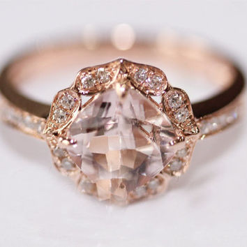 Vintage Floral Design! HALO Cushion Cut Morganite Ring Pave Diamonds Ring 14K Rose/White/Yellow Gold Engagement Promise Wedding Ring
