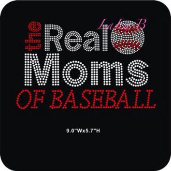 Real moms of baseball - rhinestone hot fix iron on bling transfer - DIY motif appliqué for shirts t-shirts tees baseball mom hotfix