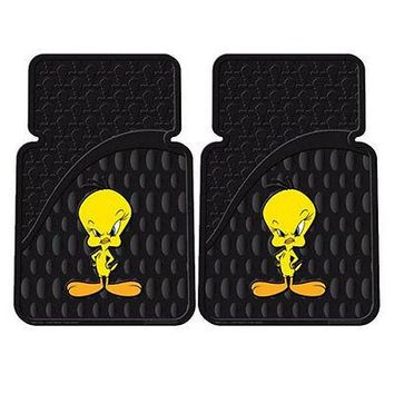 Licensed Official New Looney Tunes Tweety Bird Car Truck SUV Front Rear Back Rubber Floor Mats