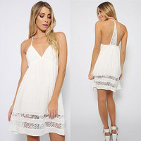 Lace Stitching Halter Backless Dress