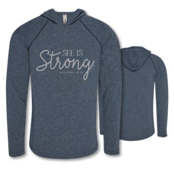Southern Couture Lightheart She is Strong Triblend Front Print Long Sleeve T-Shirt Pullover Hoodie