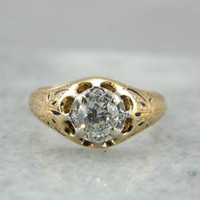 Gorgeous Old Mine Cut Diamond Engagement Ring with Victorian Black Enamel Details,  Antique Diamond Ring CQQ0TU-D