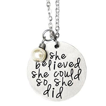 AUGUAU ORIYA Stainless Steel She Believed She Could So She Did Necklace Bracelet Gift For Women girl, Inspirational Necklace Bracelet