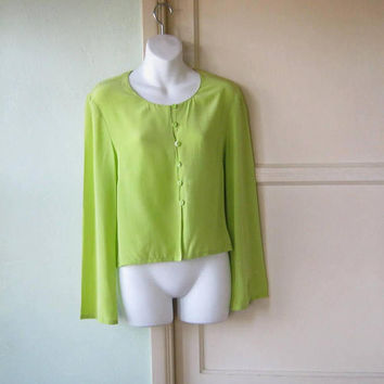 Gorgeous Vintage Key Lime Pie Green Silk Blouse; Small-Medium '80s 'Rhapsodie de Weinberg' Drapy Sensual Career Top
