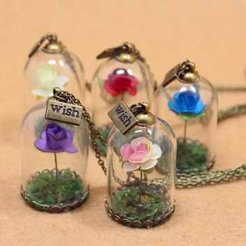 2017 NEW Beauty and the Beast Belle Rose in a Glass Bottle copper Plated Necklace cosplay Gifts Cosplay Props