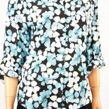 Tommy Hilfiger Women's Blue Floral-Print Roll-Tab Button Down Shirt Top XL
