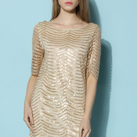Glided Sequins Open Back Dress in Gold White