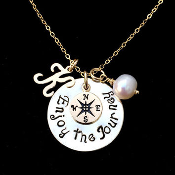 Enjoy The Journey Mixed Metal Sterling Silver and 14k Gold Filled Hand Stamped Compass Necklace with Script Initial Charm & Freshwater Pearl