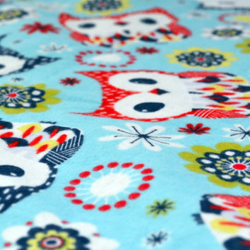Owls in red and blue baby blanket, car seat blanket, receiving blanket, travel blanket, crib blanket, white minky dot blanket
