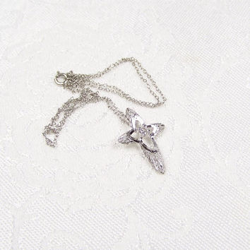 Sterling Crystal Cross Pendant Necklace Vintage Jewelry
