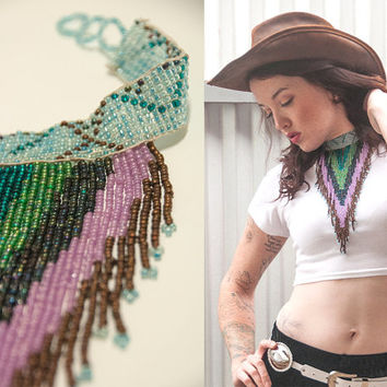 Native American Fringe Necklace | Chevron Seed Beaded Ethnic Statement Necklace | Turquoise Green Purple Choker Bib Bohemian Jewelry Gift
