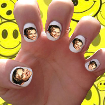 Leonardo Dicaprio Nail Decals Transfer Nail Stickers // Titanic // Romeo and Juliet // The Beach // 90s // Crush // Leo // Heart throb