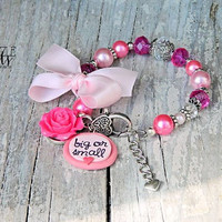 big or small save them all breast cancer awareness bracelet in hot pink and light pink