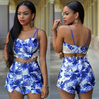 Blue And White Printed Strappy Lace Paneled Crop Top and Short Pants