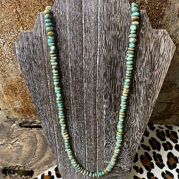 """Genuine Green Turquoise 36"""" Necklace"""