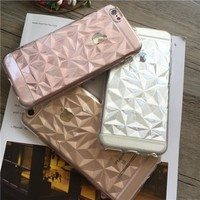 Soft TPU Cover For Apple iPhone5 5S SE 6 6S 6Plus 6SPlus 7 7 Plus Case Cases Phone Shell Prefect Design 3D Stereo Diamond Shaped