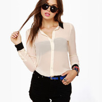 Pretty Black and Cream Top - Sheer Top - Button-Up Top - $58.00