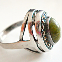 Green Jade Sterling Silver Ring Art Deco Marcasites Vintage sz 6.5