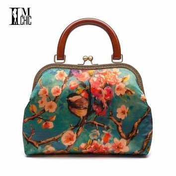2018 Designer Silk Women Casual Tote Bags Vintage Floral Ladies Evening Party Bag Female Vocation Banquet Gift Women Handbags