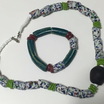Kyerewaa handmade African trade bead necklace with matching bracelet