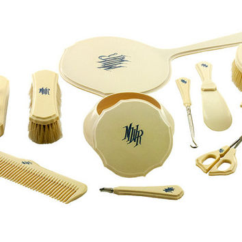 Vintage Vanity Set Pyralin DuBarry Ivory 11 Pieces Monogrammed in Blue Collectible Art Deco Stage Prop Original Set Excellent Condition