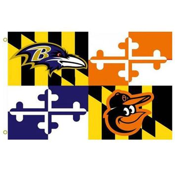 VONE05O Baltimore Ravens Baltimore Orioles Maryland Flag 3' x 5' Banner metal holes Flag Custom Flag