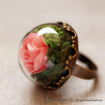 Nature Inspired Jewelry Real Dried Clover Rings Gift (HM0178)