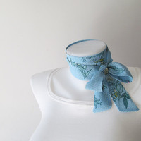 Blue Floral Skinny Scarf, Pastel Chiffon Scarf, Long Thin Scarf with Angled Ends, Neck Tie, Headband, Narrow Scarf, Spring Summer Fashion