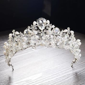"""Sylvia"" Crystal Pearl Princess Crown"