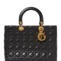 Black Cannage Quilted Lambskin Large Lady Dior