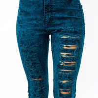 Teal High Waisted Destroyed Jeans