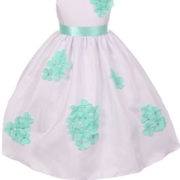 Mint Green Dimensional Gem Beaded Flowers on White Shantung Occasion Dress (Baby Girls Sizes 3 to 24 Months)