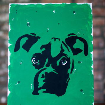 Boxer Pet Painting - Tonal Green Boxer Dog Wall Art Pet Painting - Original Artwork on Art Board