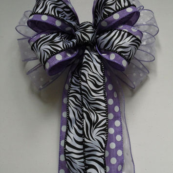 Purple Zebra Bow Lavender Zebra Birthday Party Decor Purple  Zebra Polka dots Birthday Decor Purple Baby Shower Decor
