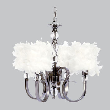 Hampton Four-Light Chandelier with White Feather Drum Shades