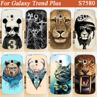 For Samsung Galaxy Trend Plus S7580 diy Hard Back Cover Fashion pattern Mobile Phone Cover cute colorful Animals dersign