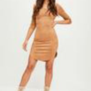 Missguided - Camel Scoop Neck Faux Suede Dress