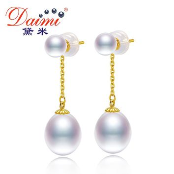 DAIMI 18K Gold Drop Earrings 3-4mm Tiny Studs with 6-7mm White Drop Pearl Dangle Earrings High Quality Brand Jewelry