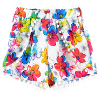 Floral Elastic Shorts with Poms Deco