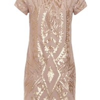 New Look Mobile | Cream Gold Sequin Tribal Shift Dress