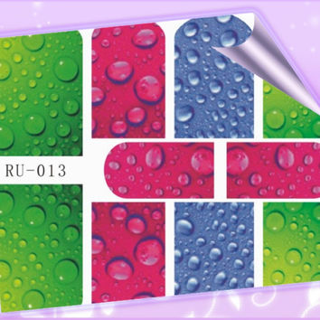 1X Nail Sticker RAIN BOW WATER DROP DEW XMAS SNOW FLAKE ANCHOR STEERING WHEEL RU013-018