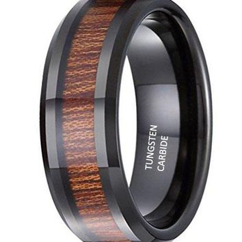 CERTIFIED 8mm Unisex Tungsten Carbide Ring KOA Wood Vintage Wedding Engagement Promise Band