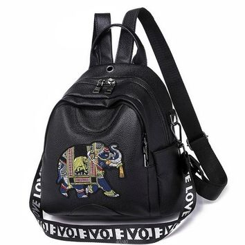 Student Backpack Children 2018 new fashion elephant backpack leather high quality school bag shoulder bag for youth bags leather Student backpack AT_49_3