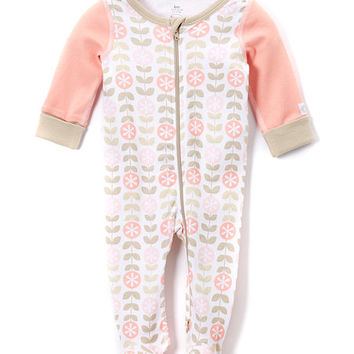 Pink Owl & Flower Long-Sleeve Footie - Infant