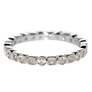 Sterling Silver Womens Ring CZ Cubic Zirconia Square Circle Square 2mm wide