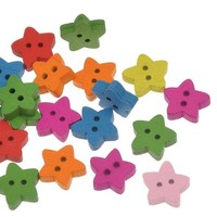 Pack of 100 Assorted Colours Star Buttons. 13mm Diameter. Perfect for Scrapbooking, Gift, Romance, Sewing, Dressmaking & Needle Craft.