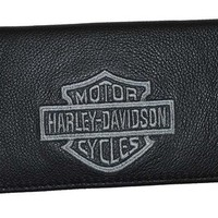 Harley-Davidson Silver Bar & Shield Black Leather Checkbook Cover FC806H-2G