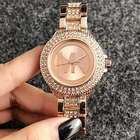 MK Micheal Kors Simple and fashionable female big word inserts diamond watch, leisure fashion quartz watch Rose gold