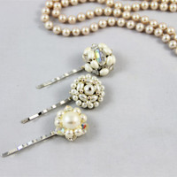 Vintage earring hair pins ivory clusters wedding bridesmaid pearl glass crystal retro repurposed 50's 60's glam silver settings Great Gatsby